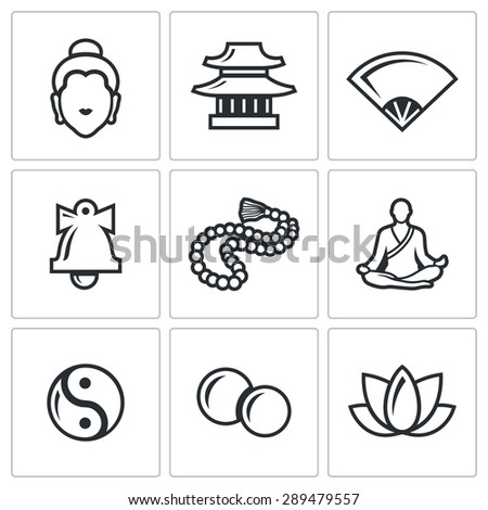 Buddhism icons set.  Isolated Flat Icons collection on a white background for design - stock photo