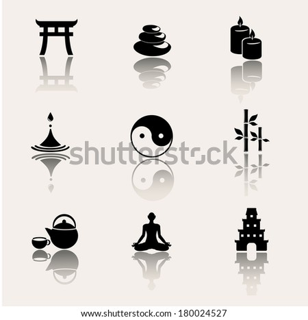 Buddhism, zen philosophy icon set. - stock photo