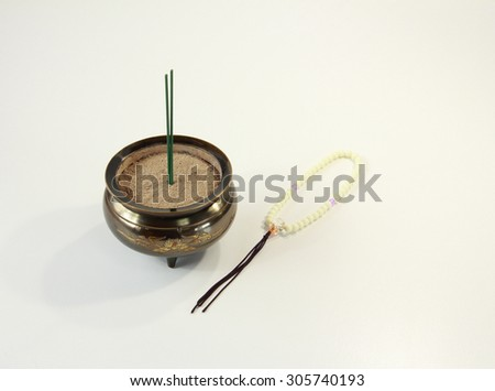 Buddhist altar fittings - stock photo