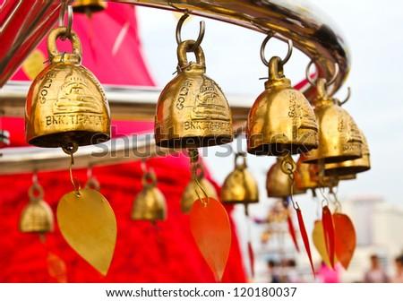 Buddhist bells in Wat Saket (The Golden Mount), Bangkok, Thailand. - stock photo