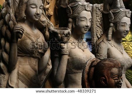Buddhist garden statues, Pattaya, Thailand. - stock photo