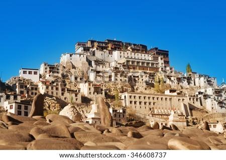 Buddhist heritage, Thiksey monastery or Gompa temple under blue sky. Leh, Ladakh, India. - stock photo