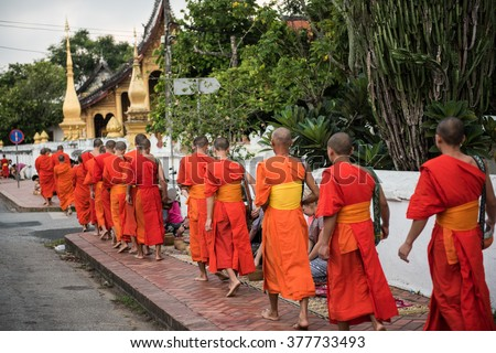 Buddhist Monks in Laos - stock photo