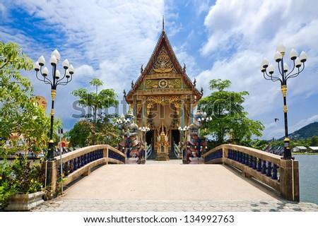 Buddhist pagoda, part of temple complex Wat Plai Laem on Samui island. Thailand, Koh Samui - stock photo