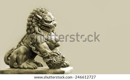 Buddhist sculpture. Singha Stone statue in Bangkok, Thailand - stock photo