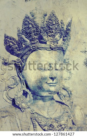 Buddhist Statue with textured overlays - stock photo