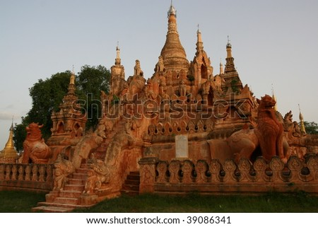 Buddhist temple in bagan, pagan, myanmar, burma - stock photo