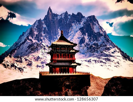 Buddhist temple in mountains - stock photo
