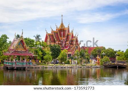 Buddhist temple in Samui island, Thailand - stock photo