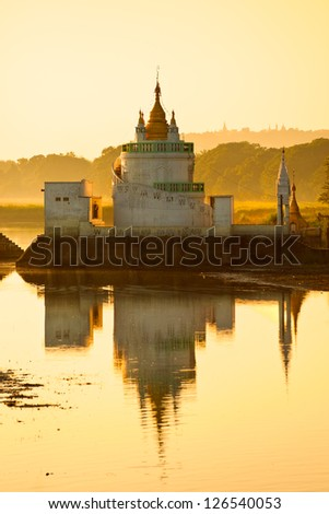 Buddhist temple near U bein bridge at Amarapura ,Mandalay, Myanmar. - stock photo