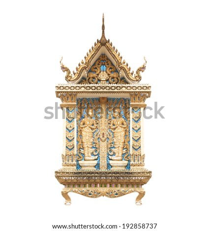 Buddhist temple wall in Thailand Phra That Doi Suthep isolated on white background. - stock photo