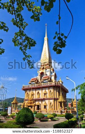 Buddhist temple Wat Chalong in Phuket, Thailand. - stock photo