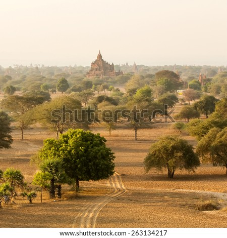 Buddhist temples in Bagan at sunset, Myanmar - stock photo