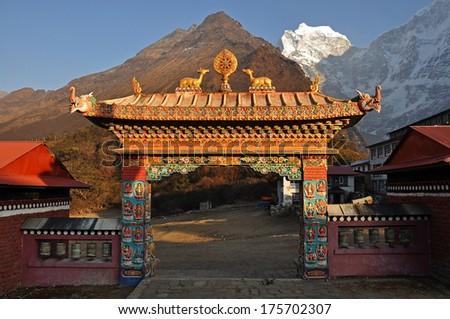 Buddhist Tengboche monastery in Himalaya mountains, Nepal - stock photo