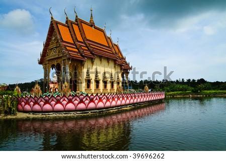 buddhistic pagoda on Koh Samui island, Thailand - stock photo