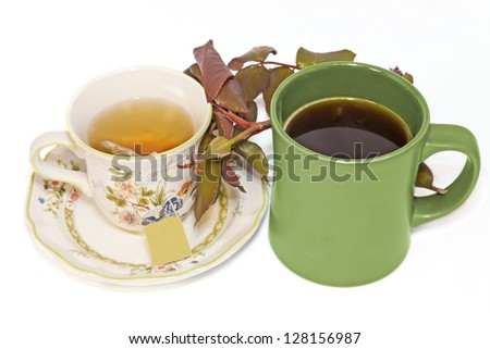 Budding romance, coffee and tea together. Floral design tea cup with saucer, green coffee mug with black coffee, leafy rosebud in between. Nice for a male, female romantic concept. Isolated on white. - stock photo