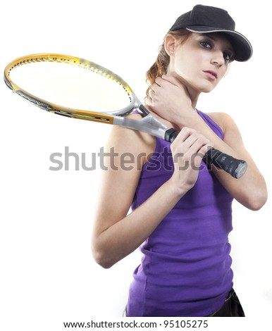 Budding tennis player. Tired. - stock photo