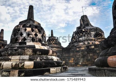 Buddist temple Borobudur UNESCO World Heritage complex in Yogjakarta in Java, indonesia - stock photo