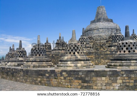 Buddist temple Borobudur. Yogyakarta. Java, Indonesia - stock photo
