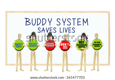 Buddy System Saves Lives: Road Rage, Safety First, Drunk Drive, Don't Drive Drunk, Designated and Not Designated Driver Mannequins isolated on white background - stock photo