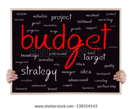 budget and other related words handwritten on blackboard with hands - stock photo