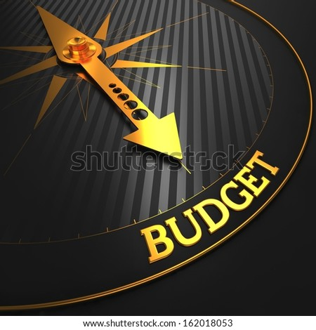 "Budget - Business Concept. Golden Compass Needle on a Black Field Pointing to the ""Budget"" Word. - stock photo"