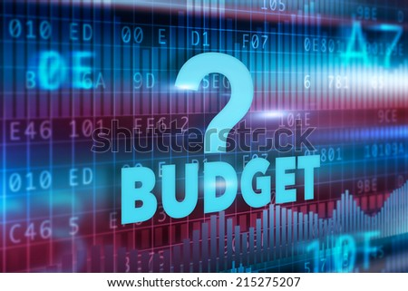 Budget concept blue red background blue text - stock photo