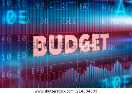 Budget concept blue red background with red text - stock photo
