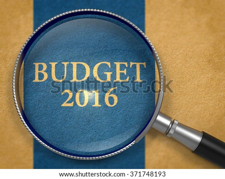 Budget 2016 Concept through Magnifier on Old Paper with Dark Blue Vertical Line Background. 3d Render. - stock photo