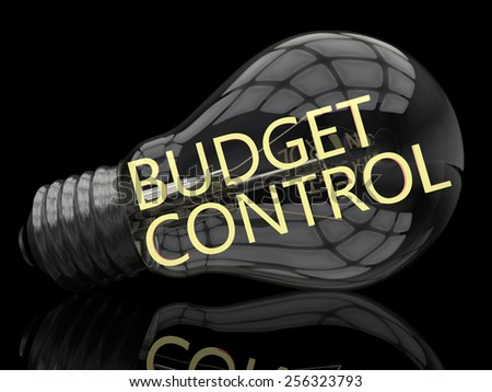 Budget Control - lightbulb on black background with text in it. 3d render illustration. - stock photo