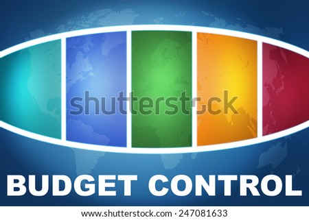 Budget Control text illustration concept on blue background with colorful world map - stock photo