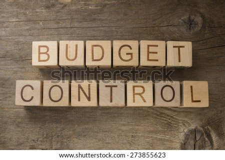 Budget Control text on a wooden background - stock photo
