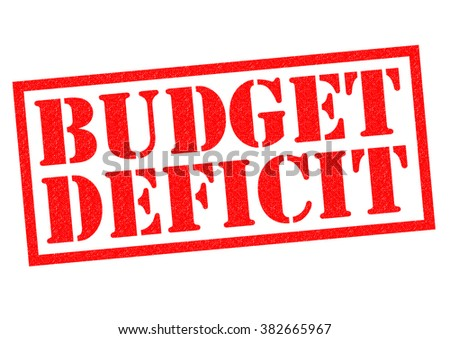 BUDGET DEFICIT red Rubber Stamp over a white background. - stock photo