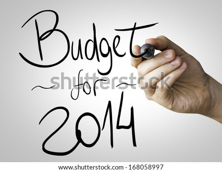 Budget for 2014 hand writing with a black mark on a transparent board - stock photo