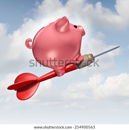 Budget goal and financial advice business concept as a piggybank character riding a red dart as a financial success symbol for managing finances and savings. - stock photo