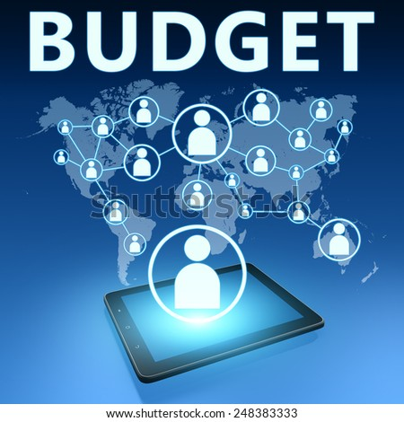 Budget illustration with tablet computer on blue background - stock photo