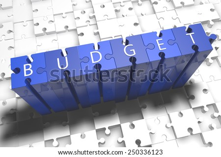Budget - puzzle 3d render illustration with block letters on blue jigsaw pieces  - stock photo