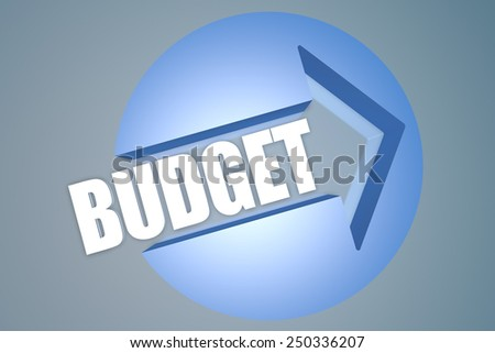 Budget - text 3d render illustration concept with a arrow in a circle on blue-grey background - stock photo