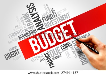 BUDGET word cloud, business concept - stock photo