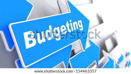 "Budgeting - Business Concept. Blue Arrow with ""Budgeting"" Slogan on a Grey Background. 3D Render. - stock photo"