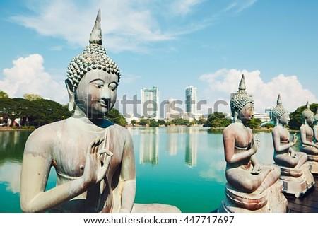 Budhist temple in Colombo. The Seema Malaka Temple - Gangaramaya. Sri Lanka. - stock photo