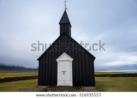 Budir black church in Iceland - stock photo