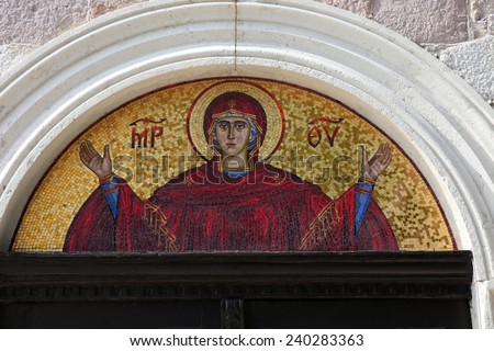 BUDVA, MONTENEGRO - JUNE 09, 2012: Virgin Mary - mosaic icon in Orthodox Christian church, on June 09, 2012 in Budva, Montenegro - stock photo