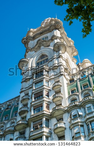 BUENOS AIRES - CIRCA NOVEMBER 2012: Facade of Palacio Barolo, Circa November 2012. The building is landmark on the city, located in Avenida de Mayo when it was built was the tallest building in city. - stock photo
