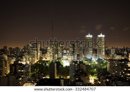 Buenos Aires city at night - stock photo