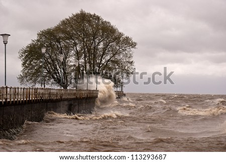 BUENOS AIRES - SEP. 18: 90km/h wind hit the shores of the Rio de La Plata in Buenos Aires capital of Argentina on September 18, 2012. - stock photo