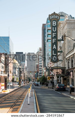 BUFFALO, NEW YORK - JUNE 3, 2015: Looking south down Main Street in downtown Buffalo, New York. The iconic Shea's Buffalo sign visible. - stock photo