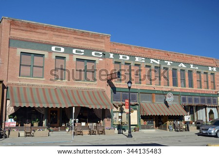 Buffalo, USA - August 19, 2015: Exterior of the Occidental Hotel in Buffalo, Wyoming, USA. Many famous guests have stayed at the historic hotel including Butch Cassidy and Ernest Hemingway. - stock photo