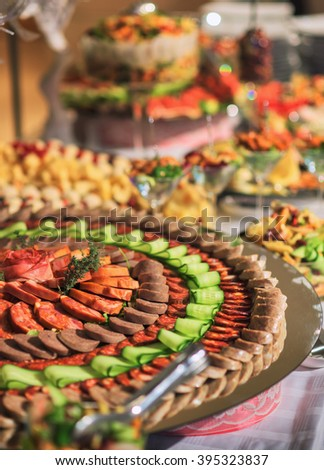 buffet food on display on table - stock photo