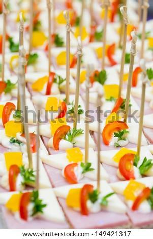 Buffet line in Wedding,Thailand - stock photo